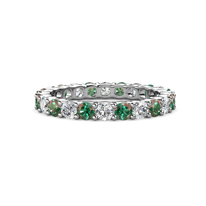 Joyce 3.40 mm Diamond and Lab Created Alexandrite Eternity Band - Diamond and Lab Created Alexandrite Common Prong Womens Eternity Ring Stackable 3.01 ctw* 14K White Gold