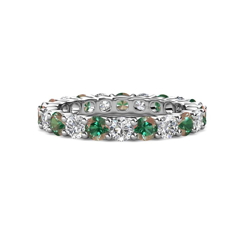 Joyce 3.80 mm Diamond and Lab Created Alexandrite Eternity Band - Diamond and Lab Created Alexandrite Common Prong Womens Eternity Ring Stackable 3.65 ctw* 14K White Gold