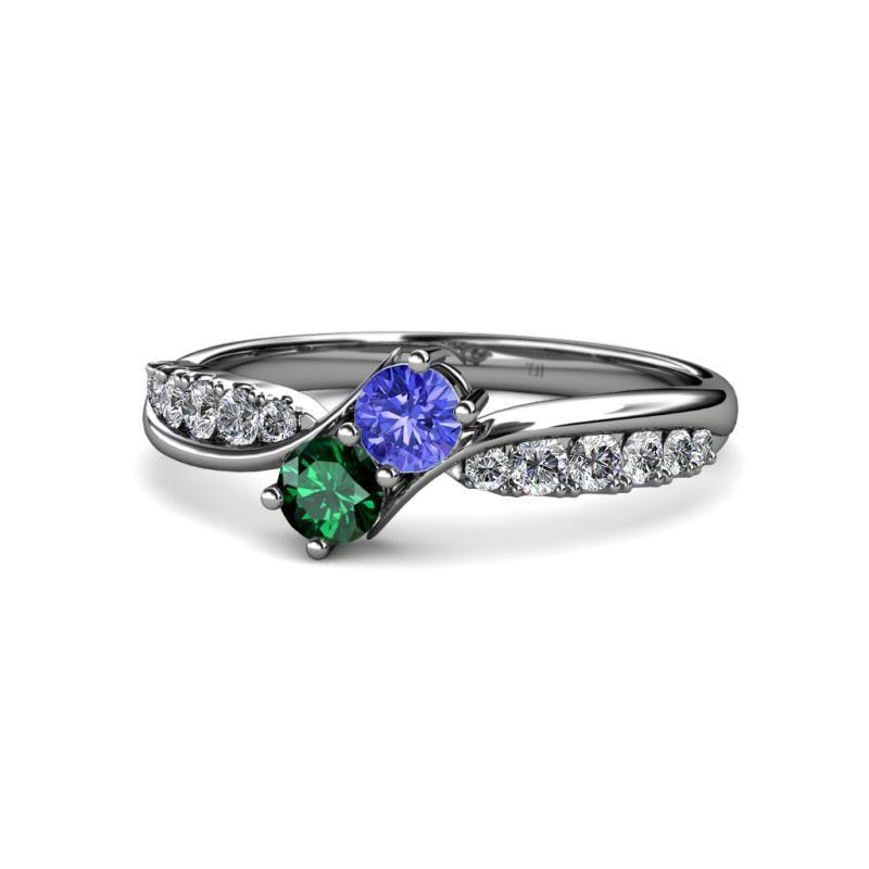 Nicia Tanzanite and Emerald with Side Diamonds Bypass Ring - Tanzanite and Emerald 2 Stone with Side Diamonds Bypass Engagement Ring 0.74 ctw 14K White Gold