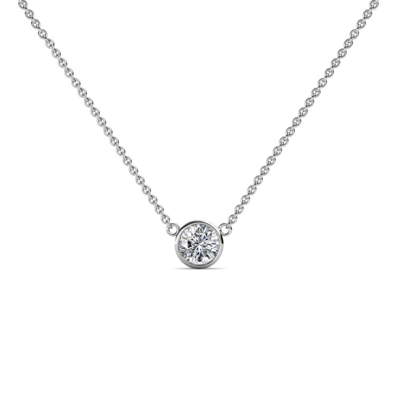 Merilyn 4.50 mm Diamond Bezel Set Solitaire Pendant - Diamond Bezel Set Womens Solitaire Pendant Necklace 0.35 ct 14K White Gold.Included 16 Inches 14K White Gold Chain.