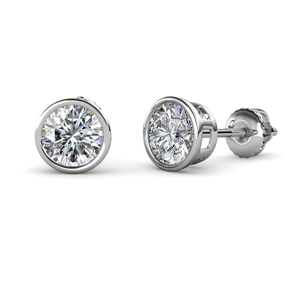 Carys Diamond (5.8mm) Solitaire Stud Earrings - Diamond Bezel Set Solitaire Womens Stud Earrings 1.50 ctw 14K White Gold