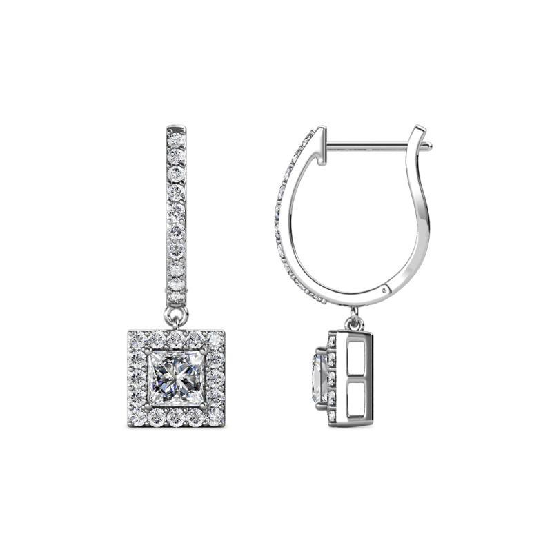 Ilona (4mm) Princess Cut Diamond Halo Dangling Earrings - Princess Cut (4 mm) Diamond Womens Halo Drop and Dangle Earrings 1.25 ctw 14K White Gold