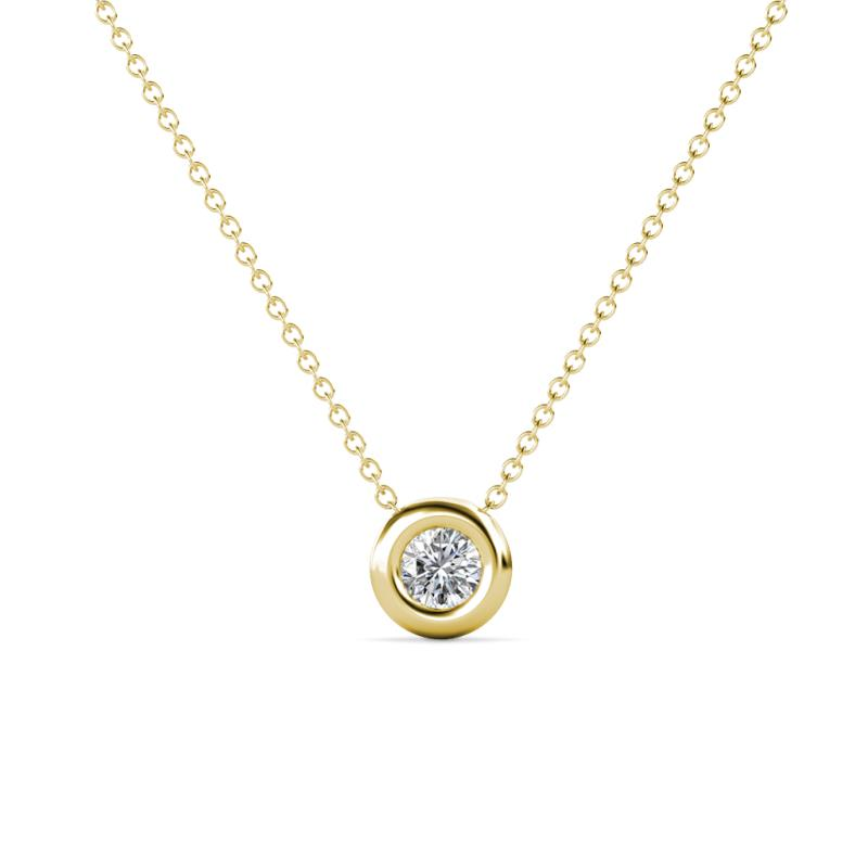 Arela 3.40 mm Round Diamond Donut Bezel Solitaire Pendant Necklace - Round Diamond Donut Bezel Set Womens Solitaire Pendant Necklace 1/6 ct 14K Yellow Gold.Included 16 Inches 14K Yellow Gold Chain