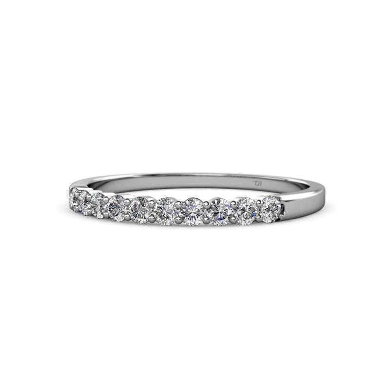 Clara 2.40 mm Diamond Wedding Band - Diamond 10 Stone Womens Wedding Band Stackable 0.50 ctw 14K White Gold
