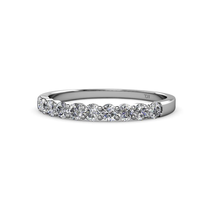 Clara 2.70 mm Diamond Wedding Band - Diamond 10 Stone Womens Wedding Band Stackable 0.70 ctw 14K White Gold