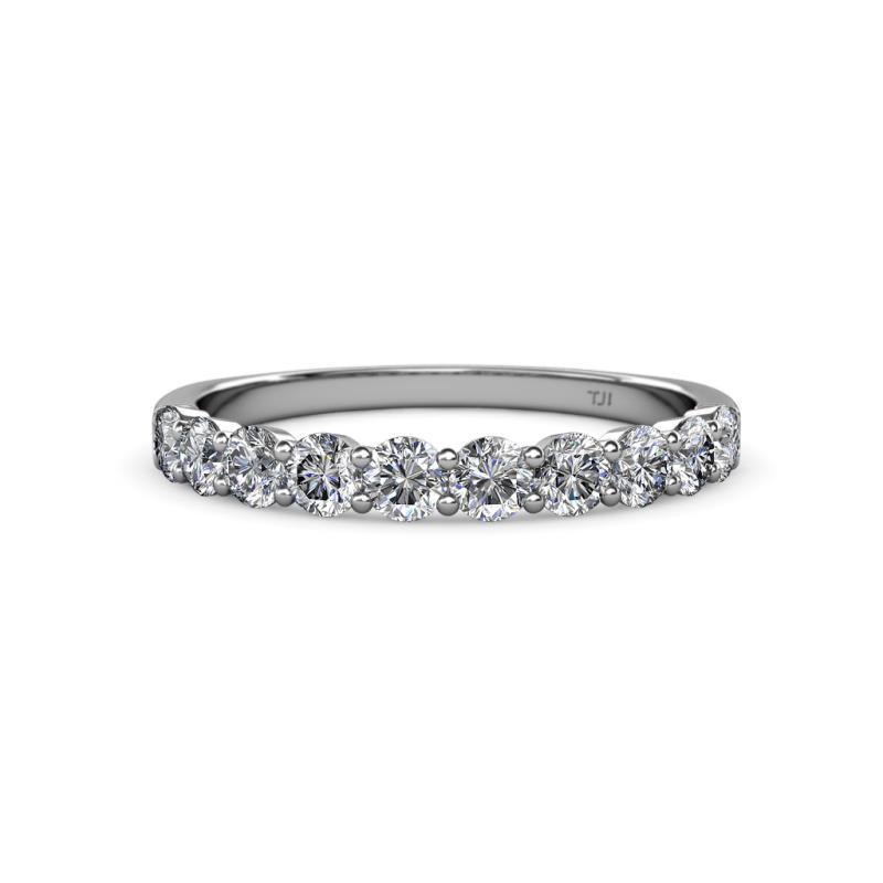 Clara 3.00 mm Diamond Wedding Band - Diamond 10 Stone Womens Wedding Band Stackable 1.00 ctw 14K White Gold