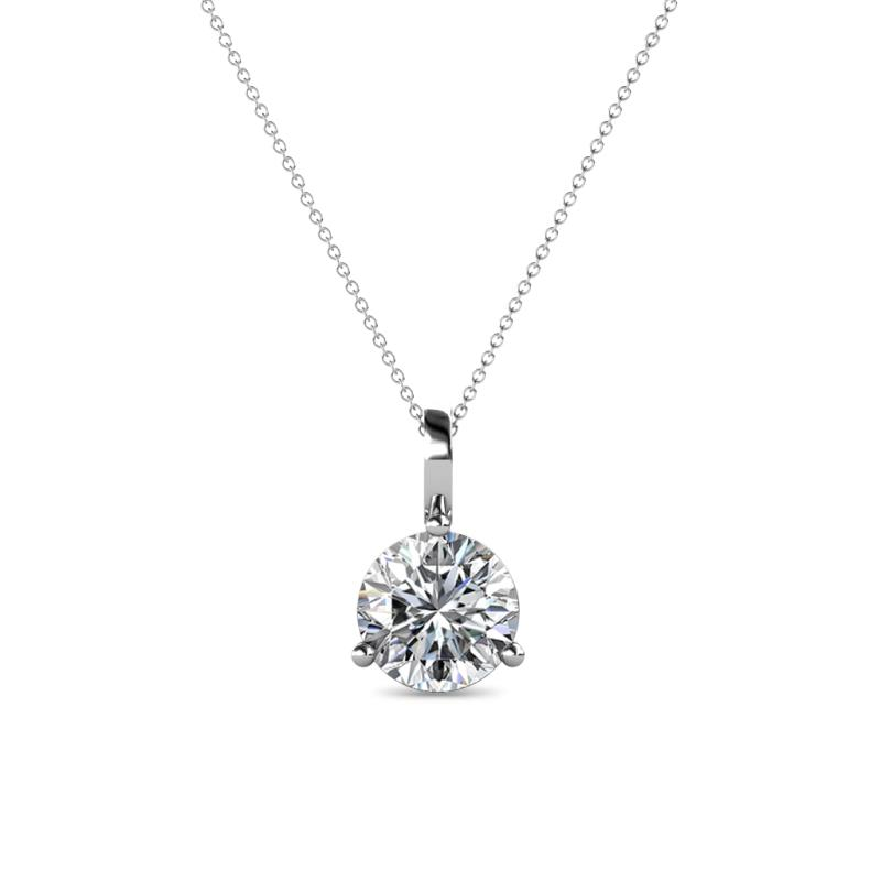 Sheryl 6.50 mm Diamond Solitaire Pendant - 1 ct Round Diamond 3-Prong Womens Solitaire Pendant Necklace 14K White Gold.Included 18 Inches 14K White Gold Chain