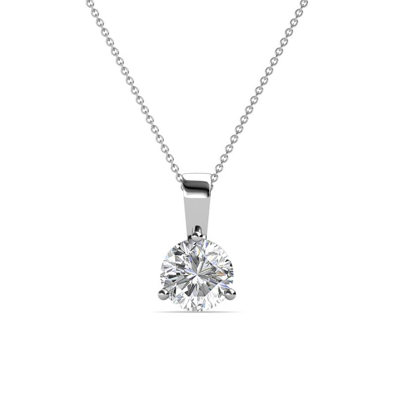 Calista 6.50 mm Diamond Solitaire Pendant - 1 ct Round Diamond 3-Prong Womens Solitaire Pendant Necklace 14K White Gold.Included 18 Inches 14K White Gold Chain