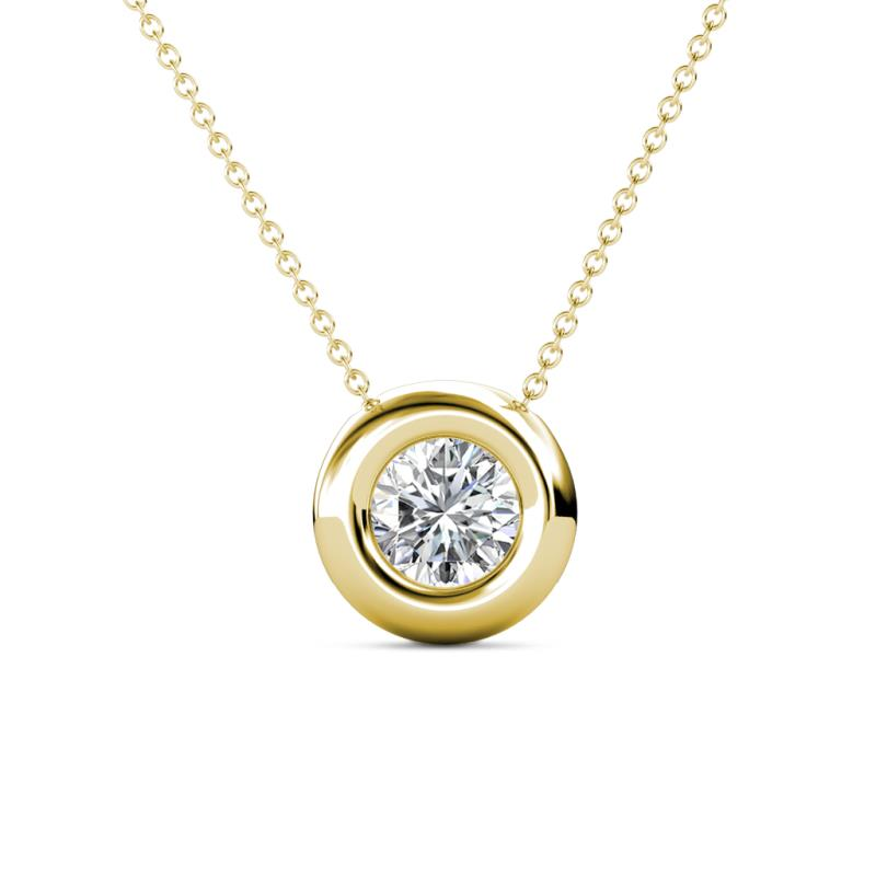 Arela 6.50 mm Round Diamond Donut Bezel Solitaire Pendant Necklace - 1 ct Round Diamond Donut Bezel Set Womens Solitaire Pendant Necklace 14K Yellow Gold.Included 16 Inches 14K Yellow Gold Chain
