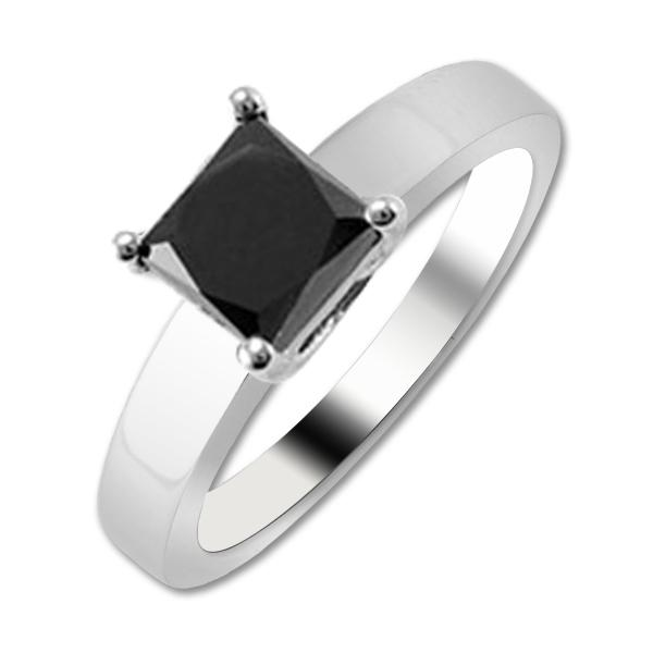 Black Diamond Solitaire Ring - Natural Treated Black Princess Shape Diamond 1.50cttw AAA-Clarity Black-Color Solitaire Ring in 14K White Gold.