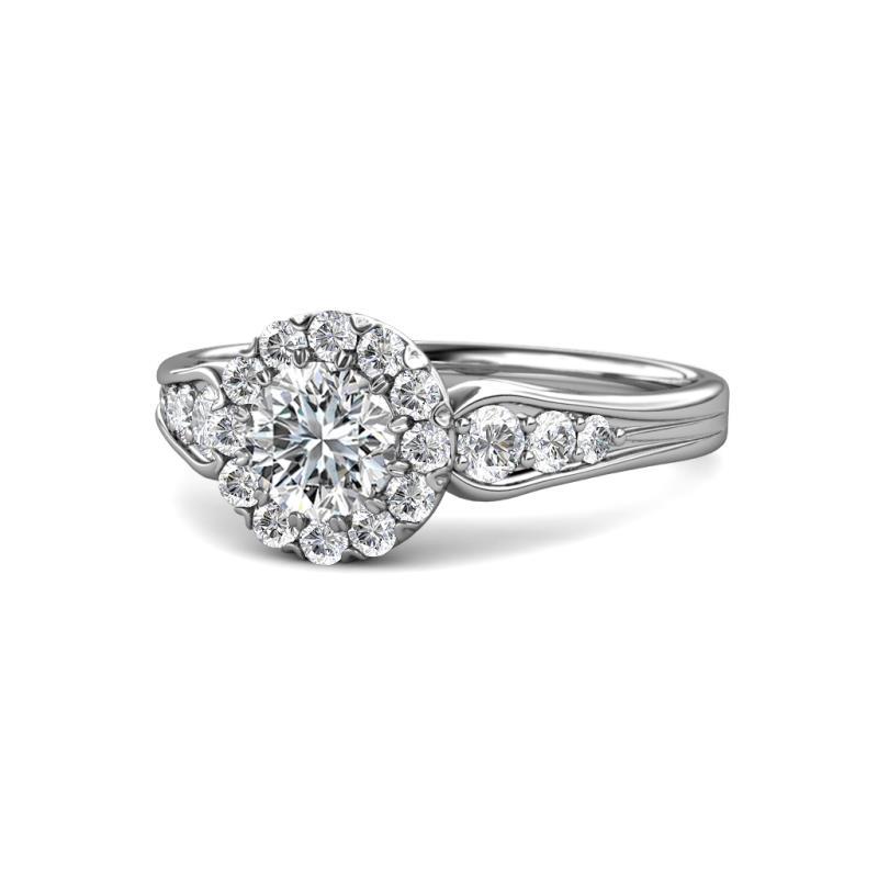 Kallista Signature Diamond Halo Engagement Ring - 1 2/5 ctw Round Diamond Cupcake Womens Halo Engagement Ring 14K White Gold
