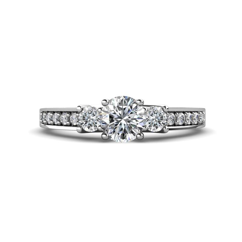 Valene Diamond Three Stone with Side Diamond Ring - Round Diamond 1 ctw Three Stone Ring with Diamond on Side Bar 14K White Gold.