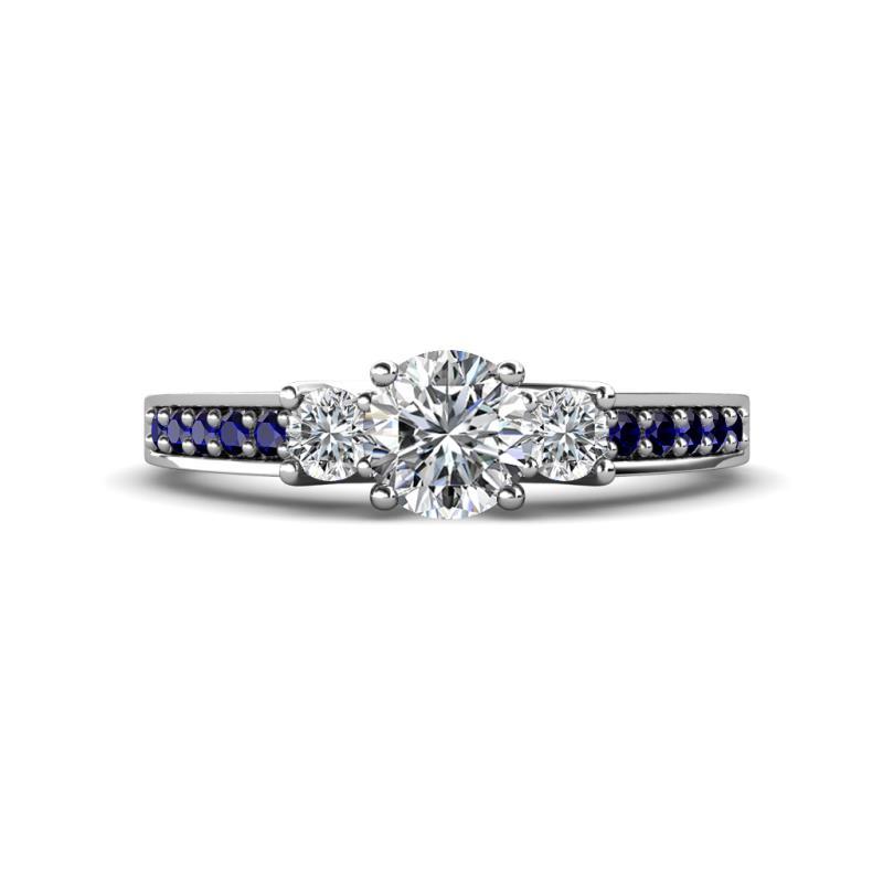 Valene Diamond Three Stone with Side Blue Sapphire Ring - Round Diamond Three Stone Ring with Blue Sapphire on Side Bar 1.03 ctw 14K White Gold