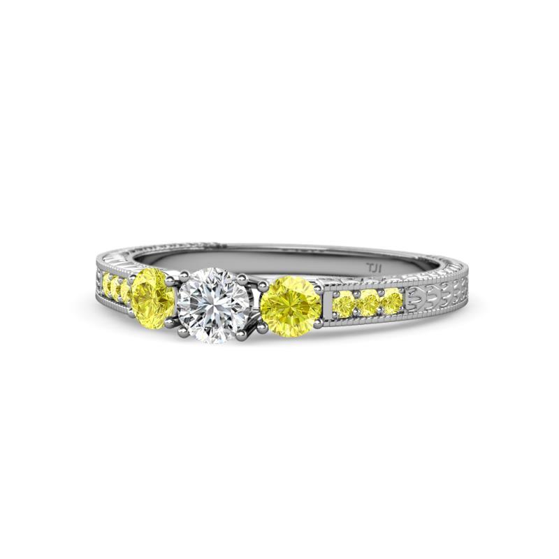 Ayaka Yellow and White Diamond Three Stone with Side Yellow Diamond Ring - Round Yellow and White Diamond 3/4 ctw Milgrain Womens Three Stone Engagement Ring with Yellow Diamond on Side Bar 14K White Gold
