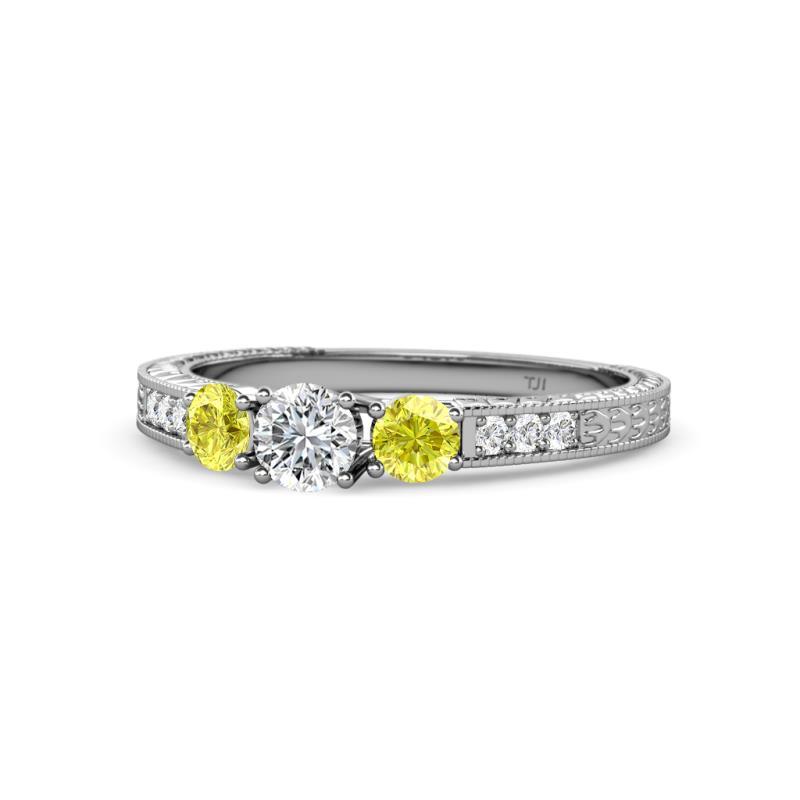 Ayaka Yellow and White Diamond Three Stone Engagement Ring - Round Yellow and White Diamond 3/4 ctw Milgrain Womens Three Stone Engagement Ring 14K White Gold