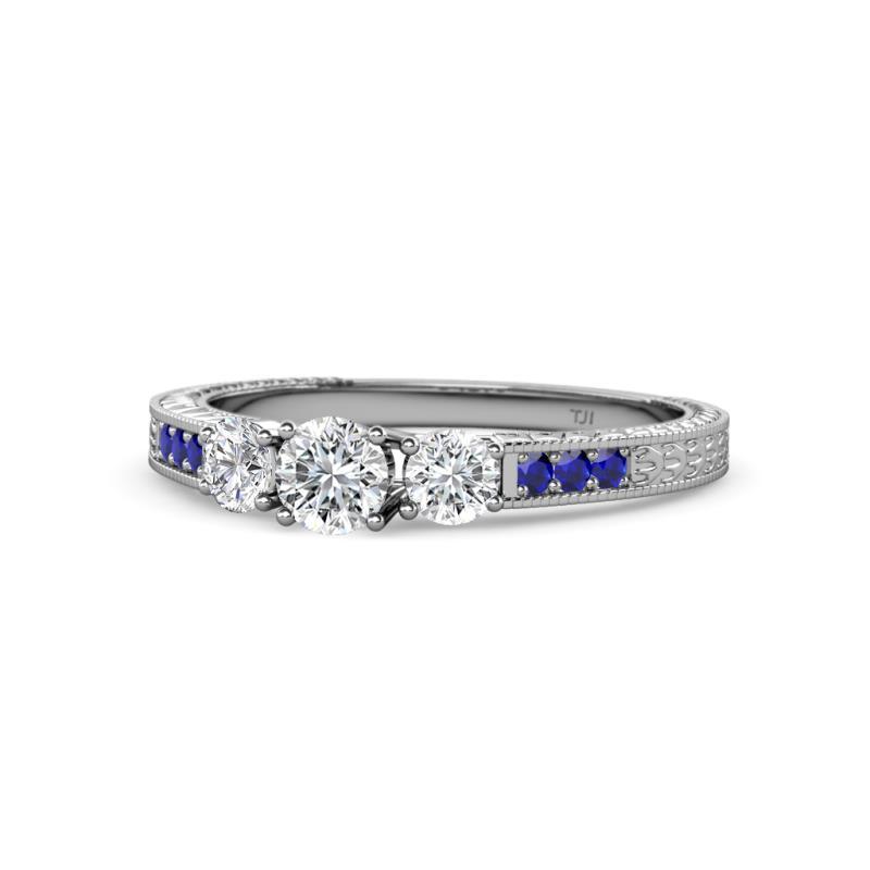 Ayaka Diamond Three Stone with Side Blue Sapphire Ring - Diamond Milgrain Womens Three Stone Engagement Ring with Blue Sapphire on Side Bar 3/4 ctw 14K White Gold