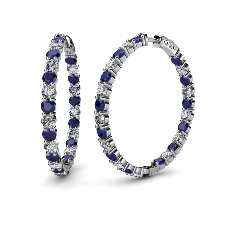 Carisa 3.50 mm Blue Sapphire and Diamond Hoop Earrings - 3.50 mm Round Blue Sapphire and Diamond 8 1/2 ctw Common Prong Inside-Out Womens Hoop Earrings 14K White Gold