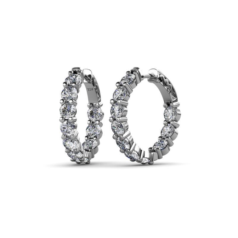 Carisa 3.80 mm Diamond Hoop Earrings - 3.80 mm Round Diamond 4 ctw Common Prong Inside-Out Womens Hoop Earrings 14K White Gold