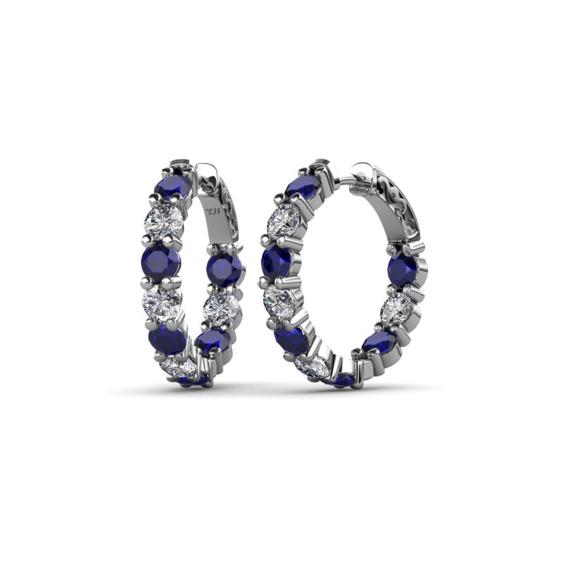 Carisa 3.80 mm Blue Sapphire and Diamond Hoop Earrings - 3.80 mm Round Blue Sapphire and Diamond 4 ctw Common Prong Inside-Out Womens Hoop Earrings 14K White Gold
