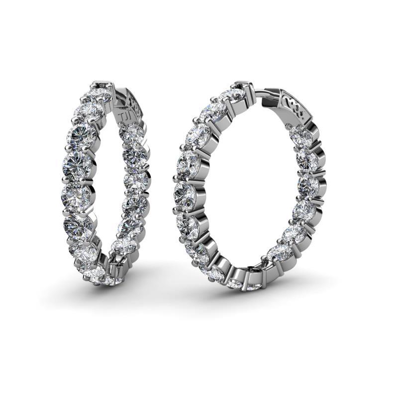 Carisa 4.40 mm Diamond Hoop Earrings - 4.40 mm Round Diamond 10 1/2 ctw Common Prong Inside-Out Womens Hoop Earrings 14K White Gold