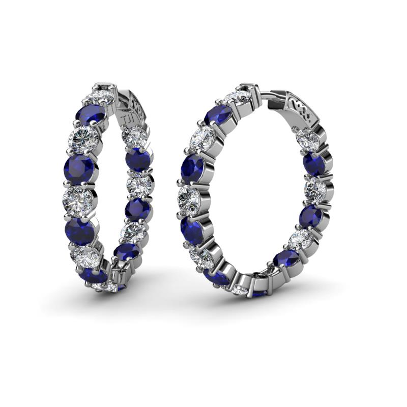 Carisa 4.40 mm Blue Sapphire and Diamond Hoop Earrings - 4.40 mm Round Blue Sapphire and Diamond 10 3/4 ctw Common Prong Inside-Out Womens Hoop Earrings 14K White Gold