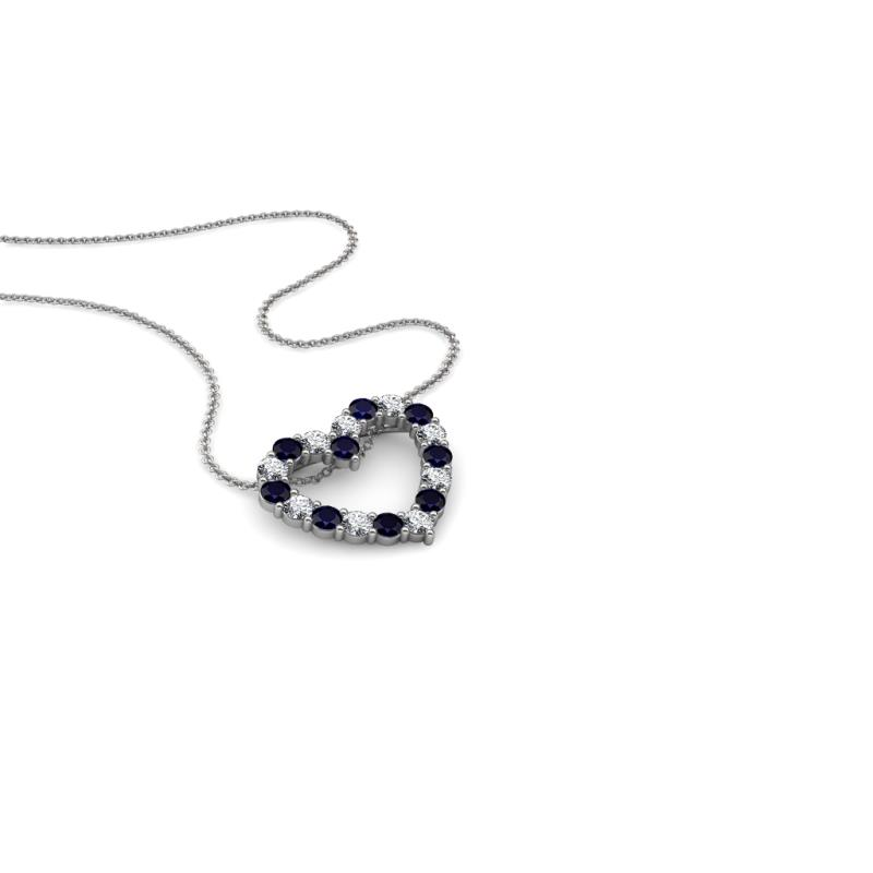 Zayna Blue Sapphire and Diamond Heart Pendant - Blue Sapphire and Diamond Heart Pendant Necklace 0.55 ctw 18K White Gold.Included 18 Inches 18K White Gold Chain