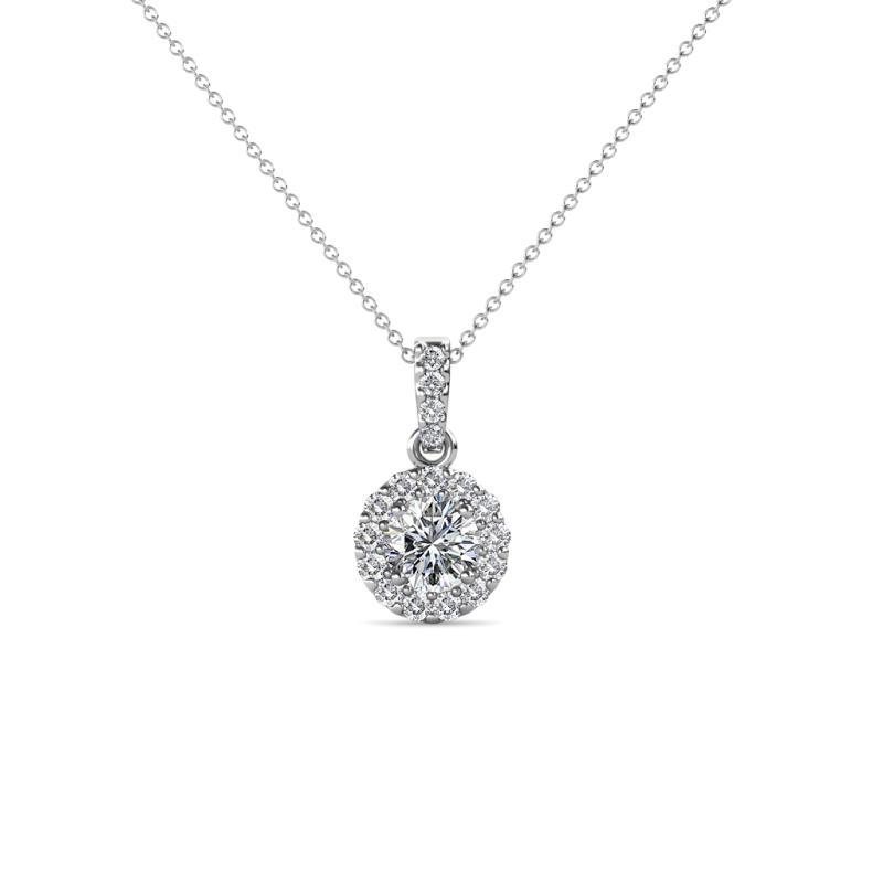 Azaria Diamond Halo Pendant - Diamond Womens Halo Pendant Necklace 0.52 ctw 18K White Gold.Included 18 Inches 18K White Gold Chain