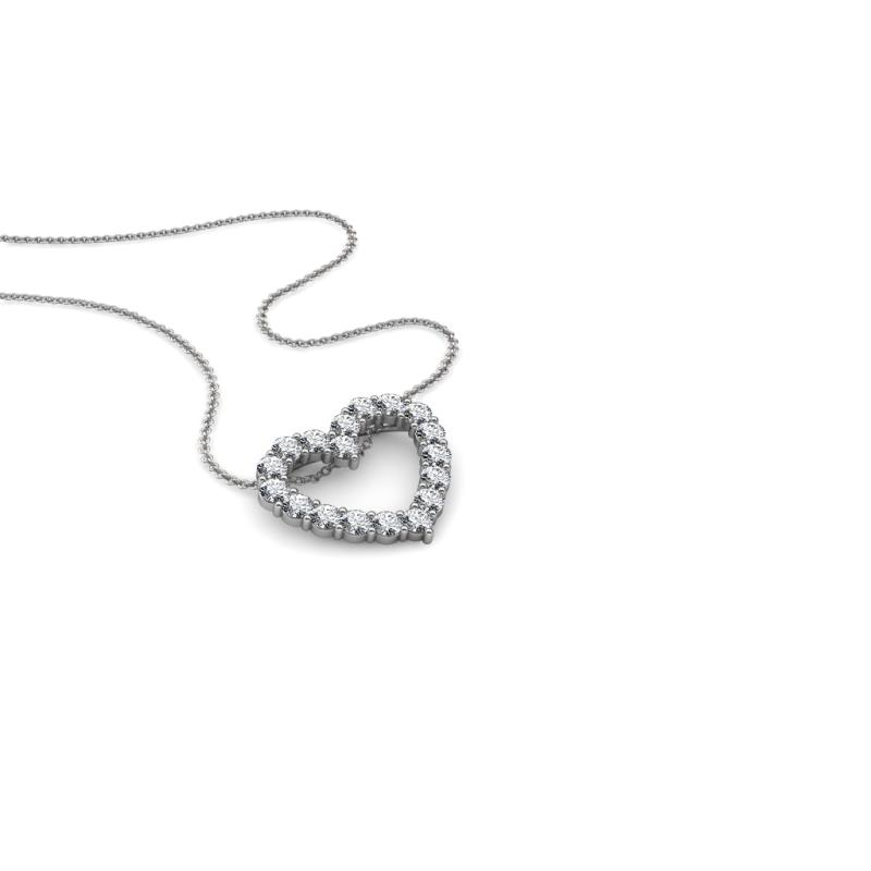 Zayna Diamond Heart Pendant - Round Diamond Heart Pendant Necklace 1/2 ctw 18K White Gold.Included 18 Inches 18K White Gold Chain