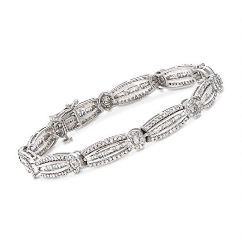 Diana Round and Baguette Shape Diamond Eternity Bracelet - Round and Baguette Shape Diamond Womens Eternity Bracelet 3 ctw 14K White Gold