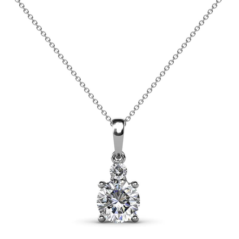 Reyne Diamond Two Stone Pendant - Round Diamond 7/8 ctw Womens Two Stone Pendant Necklace 14K White Gold.Included 18 Inches 14K White Gold Chain
