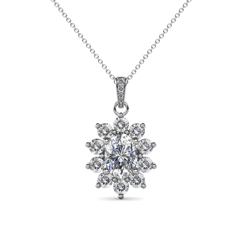 Raizel (7 x 5 mm) Diamond Floral Halo Pendant - Oval Cut (7x5 mm) Diamond 1 1/2 ctw Womens Floral Halo Pendant Necklace 14K White Gold.Included 18 Inches 14K White Gold Chain