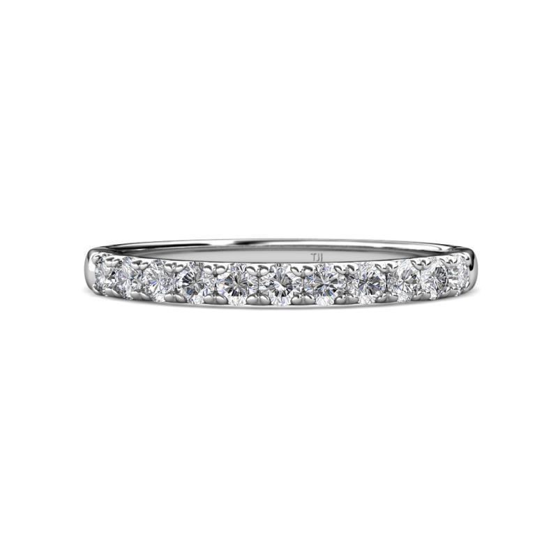 Kylie 2.40 mm IGI Certified Round Diamond 11 Stone Wedding Band - 2.40 mm Round IGI Certified Diamond 1/2 ctw 11 Stone Prong Set Womens Wedding Band Stackable 14K White Gold