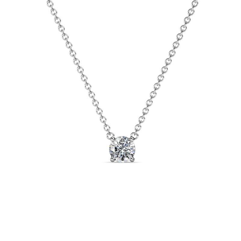 Juliana 4.00 mm Round Diamond Solitaire Pendant Necklace - 1/4 ct Round Diamond Womens Solitaire Pendant Necklace 14K White Gold.Included 16 Inches 14K White Gold Chain