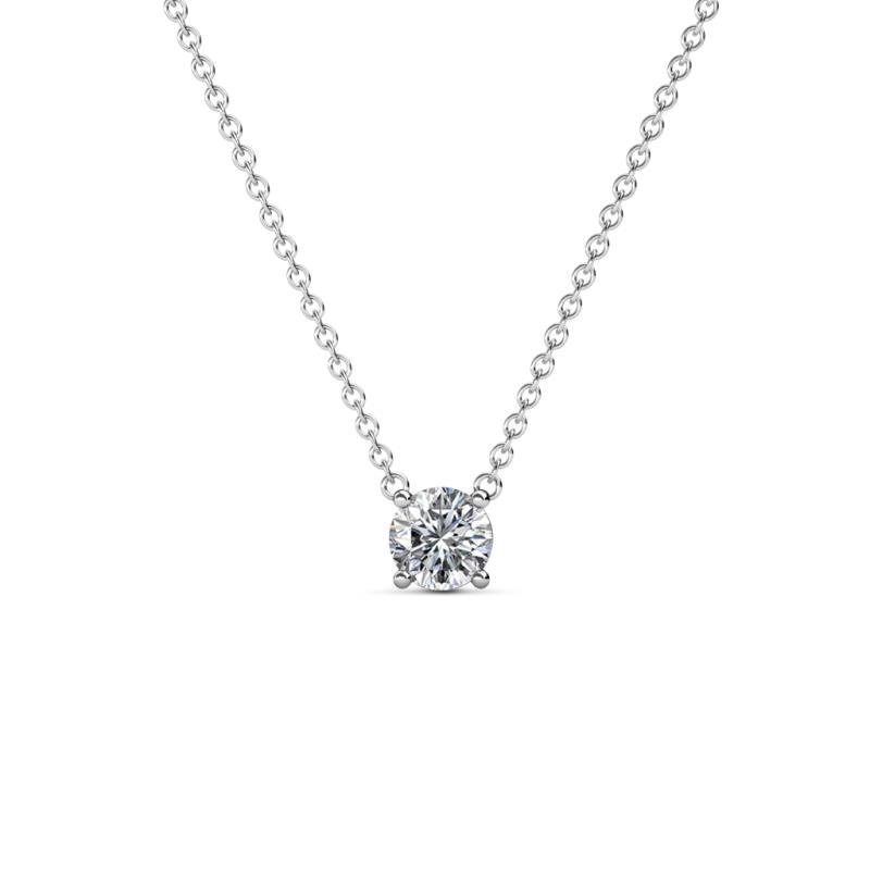 Juliana 4.50 mm Round Diamond Solitaire Pendant Necklace - 1/3 ct Round Diamond Womens Solitaire Pendant Necklace 14K White Gold.Included 16 Inches 14K White Gold Chain