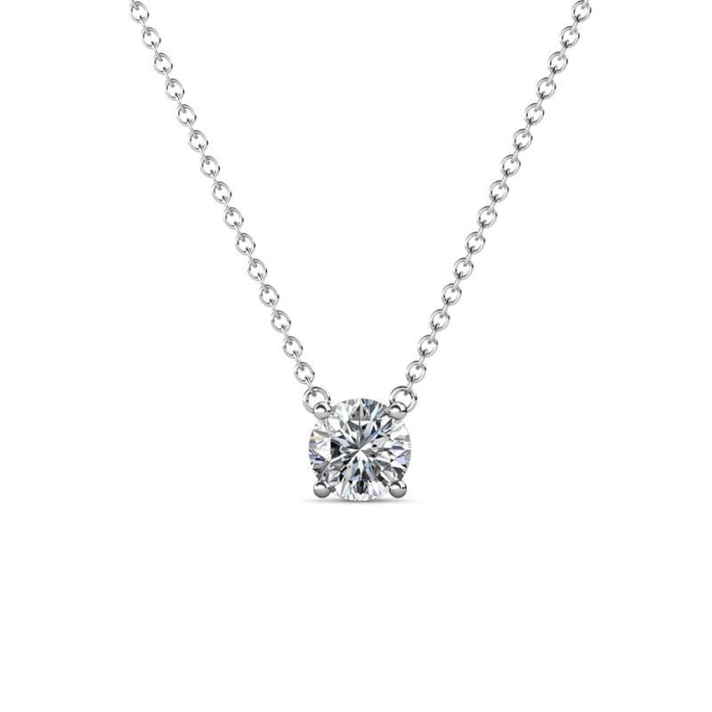 Juliana 5.00 mm Round Diamond Solitaire Pendant Necklace - 1/2 ct Round Diamond Womens Solitaire Pendant Necklace 14K White Gold.Included 16 Inches 14K White Gold Chain