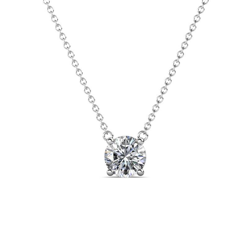 Juliana 5.80 mm Round Diamond Solitaire Pendant Necklace - 1/2 ct Round Diamond Womens Solitaire Pendant Necklace 14K White Gold.Included 16 Inches 14K White Gold Chain