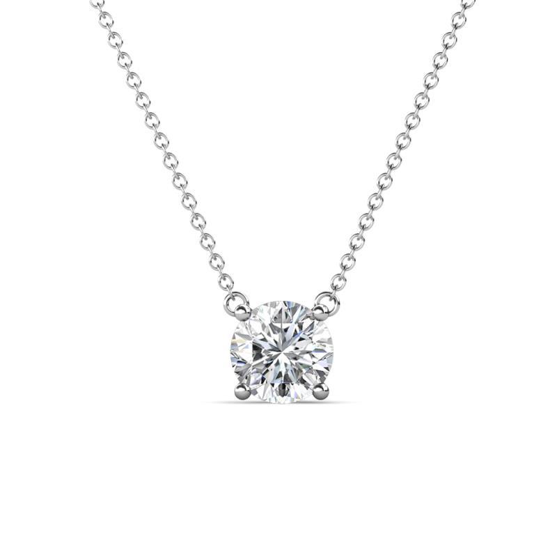 Juliana 6.50 mm Round Diamond Solitaire Pendant Necklace - 1 ct Round Diamond Womens Solitaire Pendant Necklace 14K White Gold.Included 16 Inches 14K White Gold Chain