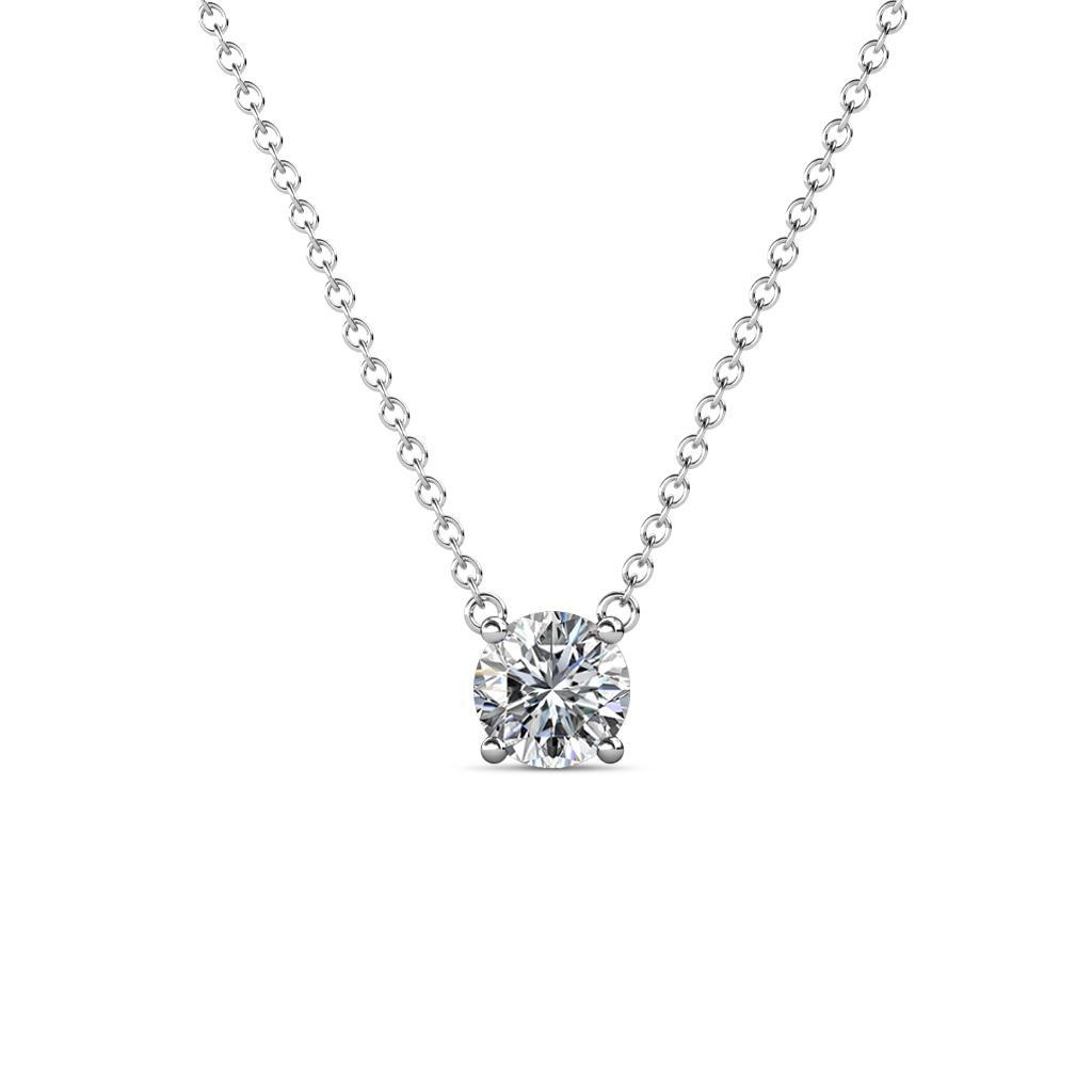 Juliana 5.40 mm Round Diamond Solitaire Pendant Necklace - 5/8 ct Round Diamond Womens Solitaire Pendant Necklace 14K White Gold.Included 16 Inches 14K White Gold Chain