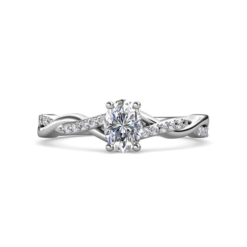 Stacie Desire Oval Cut Diamond Twist Infinity Shank Engagement Ring - Oval Cut (7x5 mm) and Round Diamond 1 1/6 ctw Womens Twist Infinity Shank Engagement Ring 14K White Gold