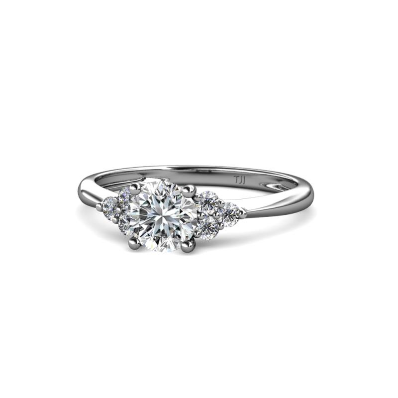 Eve Signature 6.50 mm Diamond Engagement Ring - Diamond Solitaire with Side Diamond 1 1/4 ctw Womens Engagement Ring 14K White Gold