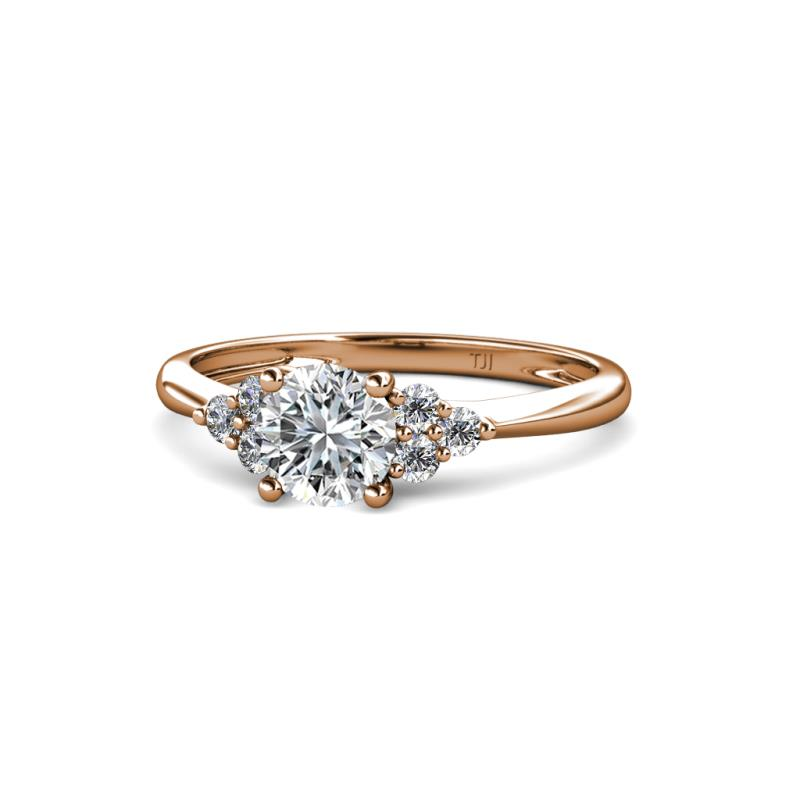 Eve Signature 5.80 mm Diamond Engagement Ring - Diamond Solitaire with Side Diamond 1 ctw Womens Engagement Ring 14K Rose Gold