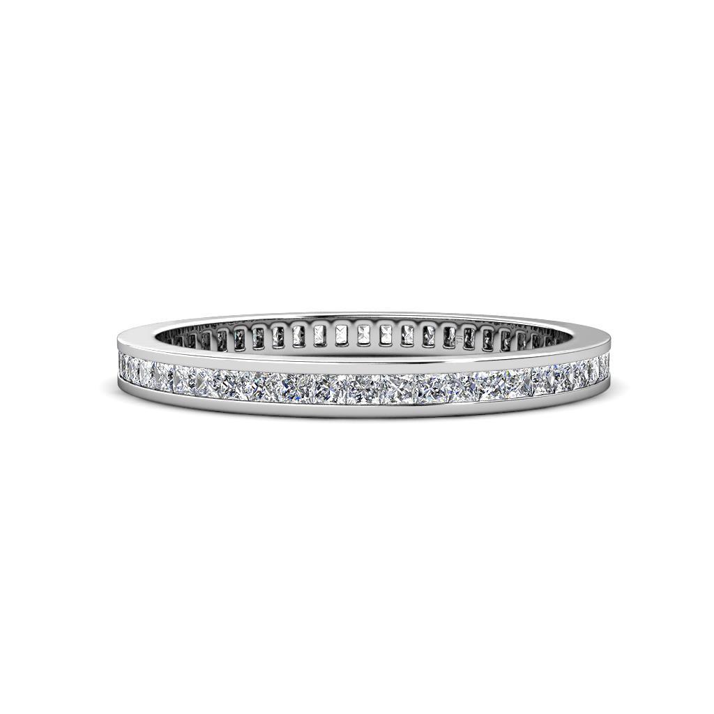 Rebica 1.50 mm Princess Cut Diamond Eternity Band - Princess Cut Diamond Channel Set Womens Eternity Ring Stackable 1 1/6 ctw* 14K White Gold