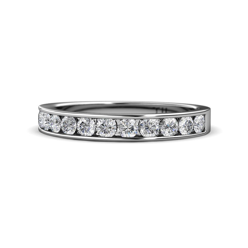 Kathiryn 3.00 mm Diamond 11 Stone Wedding Band - Diamond 11 Stone Channel Set Womens Wedding Band Stackable 1 ctw 14K White Gold