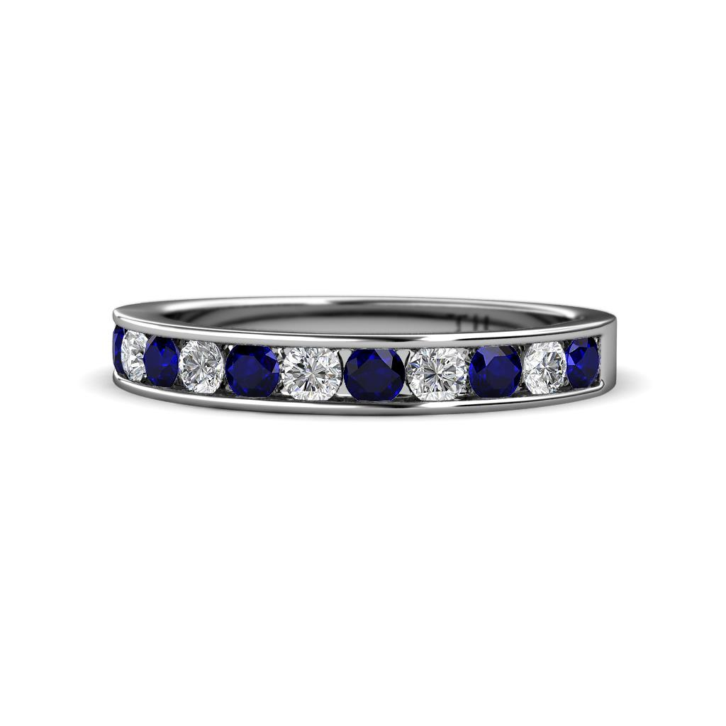 Kathiryn 3.00 mm Blue Sapphire and Diamond 11 Stone Wedding Band - Blue Sapphire and Diamond 1 1/8 ctw 11 Stone Channel Set Womens Wedding Band Stackable 14K White Gold