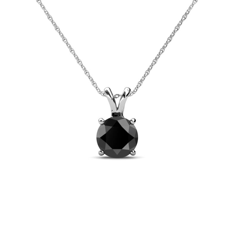 Black Diamond Solitaire Pendant - Black Diamond Solitaire Pendant 0.50 ct in 14K White Gold.Included 18 inches 14K White Gold Chain.
