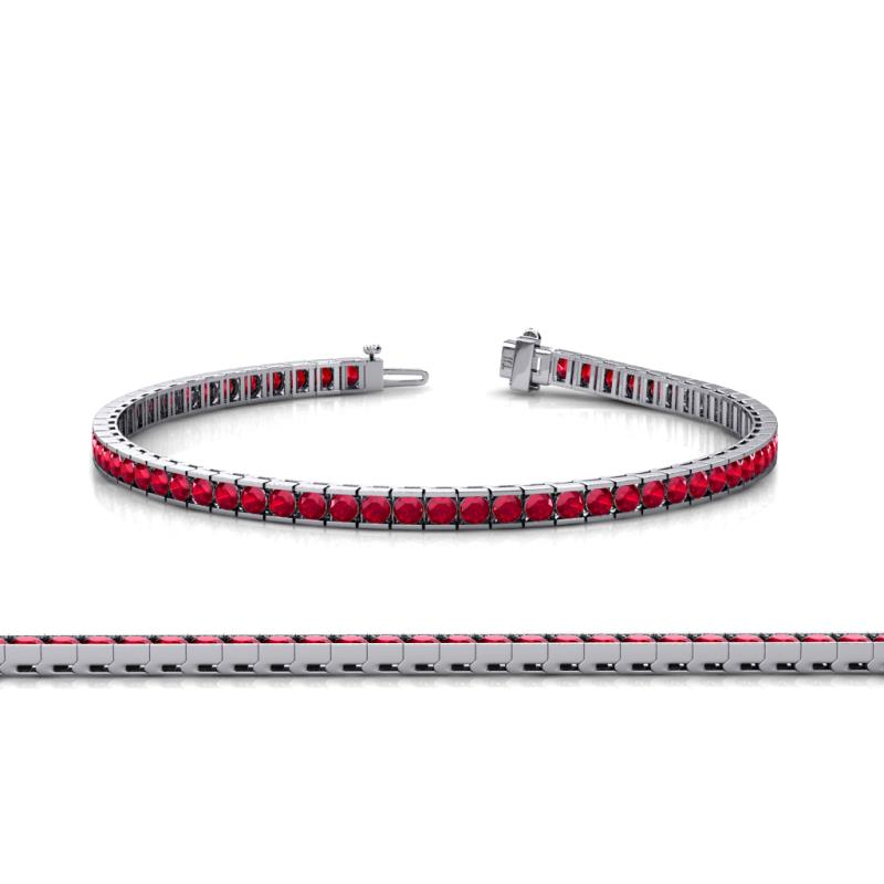 Ruby Gemstone adjustable Tennis  bracelet   white gold Finish