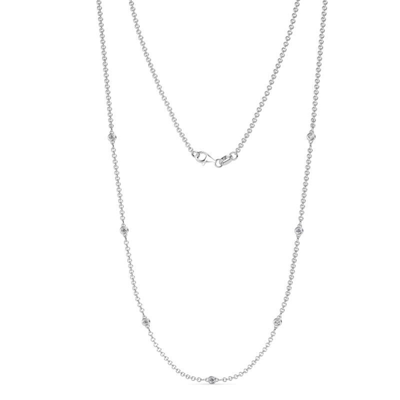 Salina (7 Stn/1.9mm) Diamond on Cable Necklace - 7 Stone Petite Diamond Womens Station Necklace 0.20 ctw 14K White Gold