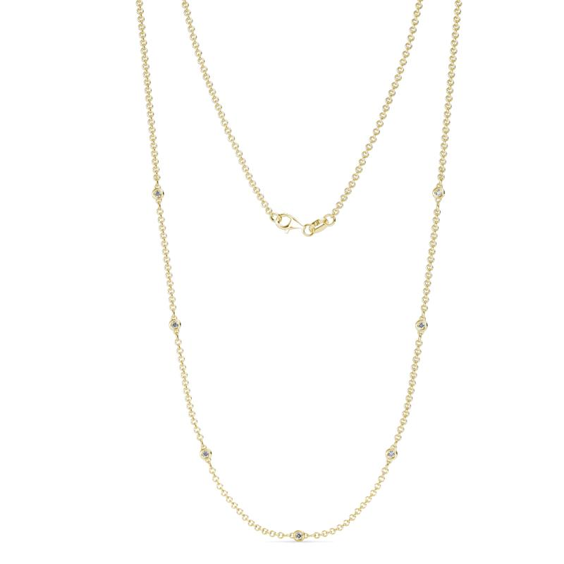 Salina (7 Stn/1.9mm) Diamond on Cable Necklace - 7 Stone Petite Diamond Womens Station Necklace 0.20 ctw 14K Yellow Gold