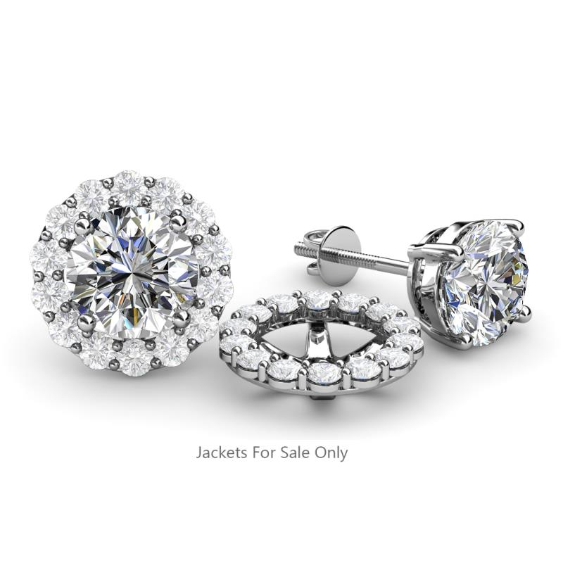 TriJewels White Sapphire Halo Jacket for Stud Earrings 0.76 ct tw in 14K Rose Gold