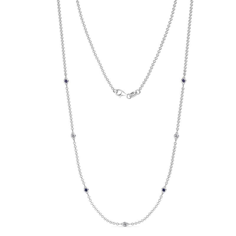 Salina (1.9mm) Petite Blue Sapphire and Diamond on Cable Necklace - 7 Station Petite Blue Sapphire and Diamond (SI2-I1, G-H) on Cable Necklace 0.20 Carat tw in 14K White Gold.